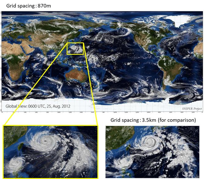 Global atmospheric simulation with a grid spacing of 870 meters