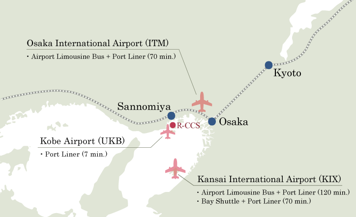 figure: access map from nearby airports