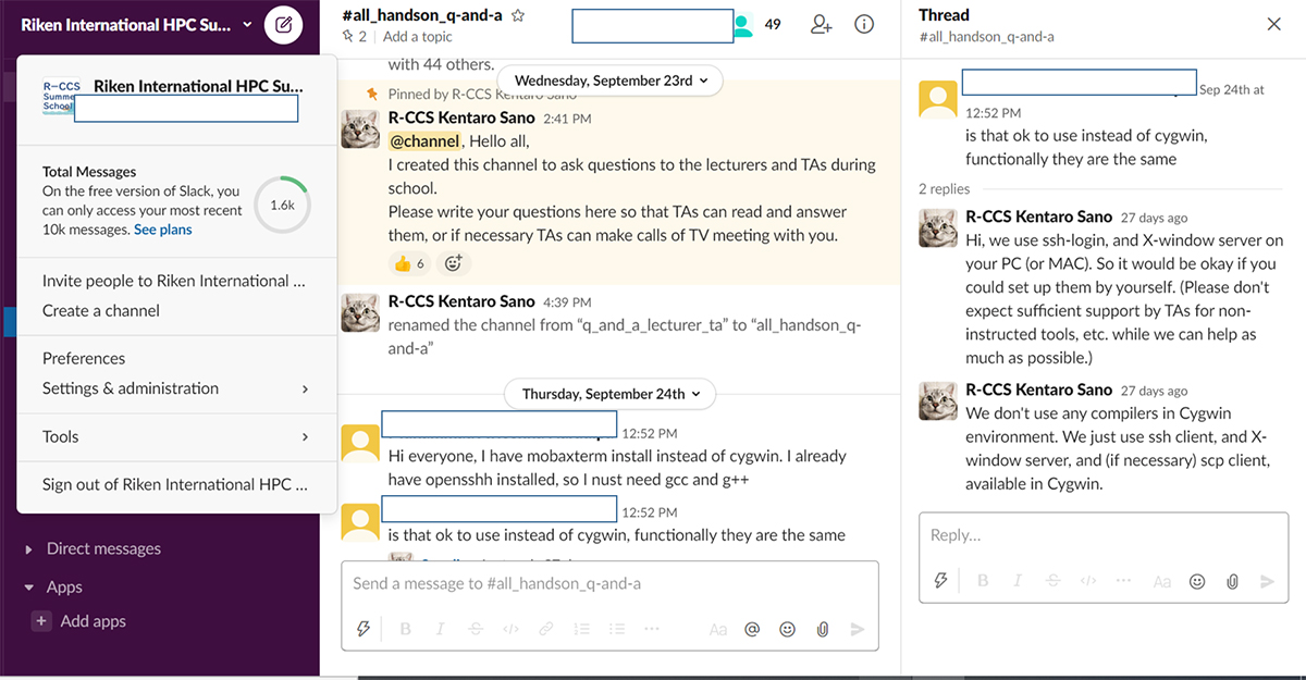 講義はWeb会議システムを、演習時の質問やTAの指導はSlackを利用して実施