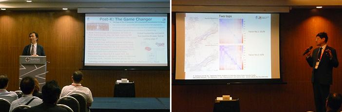 写真:Supercomputing Asia 2019の「シンガポール-日本セッション」で講演する松岡センター長、伊藤チームリーダー
