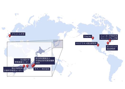 図:「富岳」の同型機、ならびにA64FXを搭載したスーパーコンピュータが世界中に広がりつつある様子を示しています